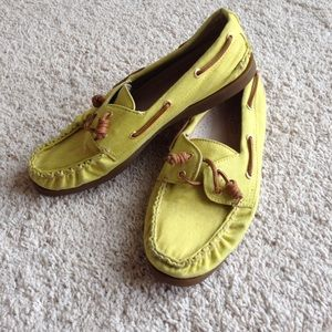 Sperry yellow women's top sider loafers size 10
